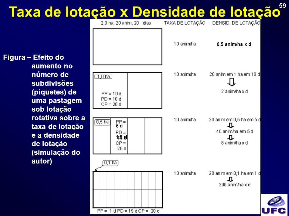 59 Taxa de lotação x Densidade de lotação Figura – Efeito do aumento no número de subdivisões (piquetes) de uma pastagem sob lotação rotativa sobre a