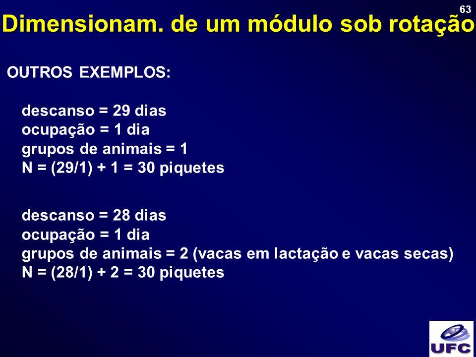 63 OUTROS EXEMPLOS: descanso = 29 dias ocupação = 1 dia grupos de animais = 1 N = (29/1) + 1 = 30 piquetes descanso = 28 dias ocupação = 1 dia grupos