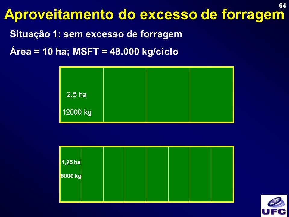 64 Aproveitamento do excesso de forragem Situação 1: sem excesso de forragem Área = 10 ha; MSFT = 48.000 kg/ciclo 2,5 ha 12000 kg 1,25 ha 6000 kg