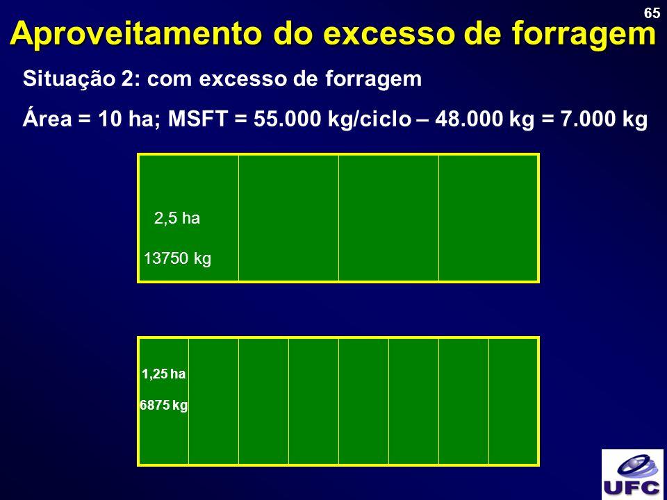 65 Aproveitamento do excesso de forragem Situação 2: com excesso de forragem Área = 10 ha; MSFT = 55.000 kg/ciclo – 48.000 kg = 7.000 kg 2,5 ha 13750