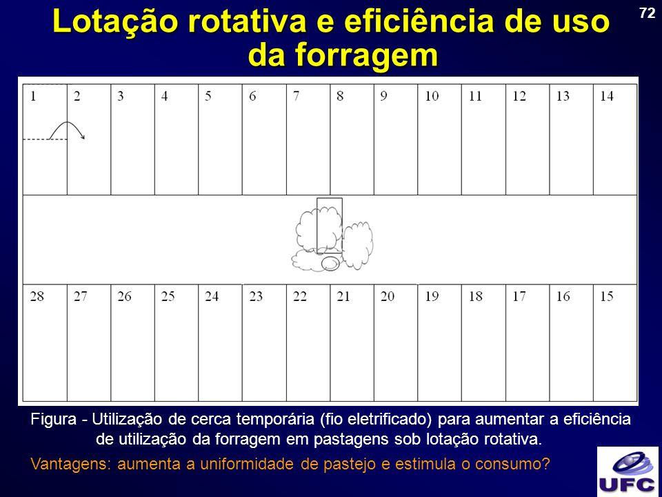 72 Lotação rotativa e eficiência de uso da forragem Figura - Utilização de cerca temporária (fio eletrificado) para aumentar a eficiência de utilizaçã