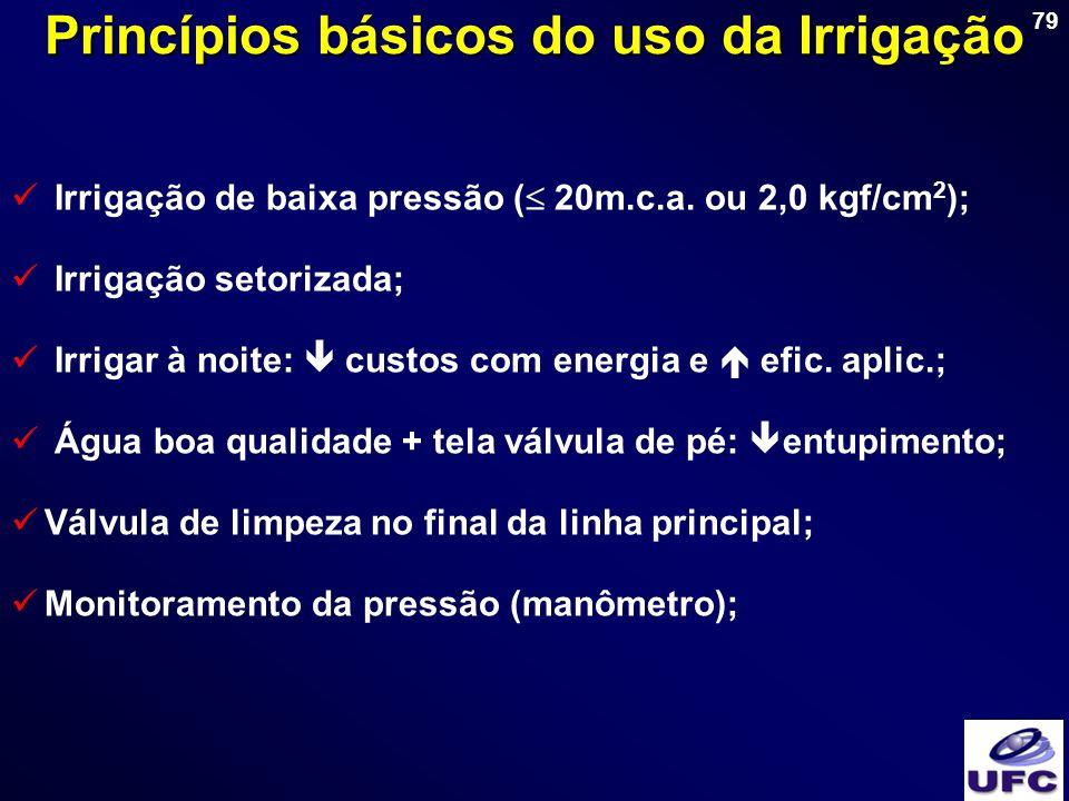 79 Princípios básicos do uso da Irrigação Irrigação de baixa pressão ( 20m.c.a. ou 2,0 kgf/cm 2 ); Irrigação setorizada; Irrigar à noite: custos com e