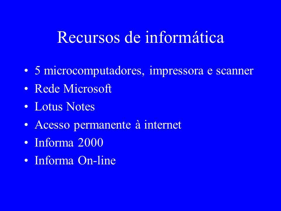 Recursos de informática 5 microcomputadores, impressora e scanner Rede Microsoft Lotus Notes Acesso permanente à internet Informa 2000 Informa On-line