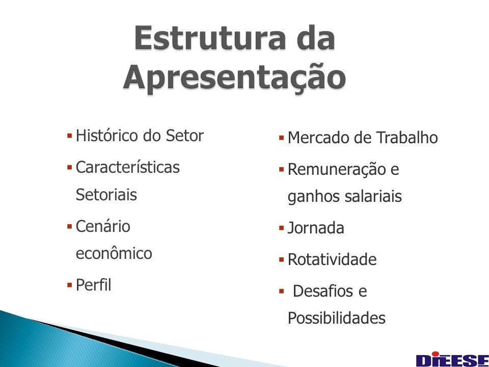 2 Estrutura da Apresentação Histórico do Setor Características Setoriais Cenário econômico Perfil Mercado de Trabalho Remuneração e ganhos salariais Jornada Rotatividade Desafios e Possibilidades