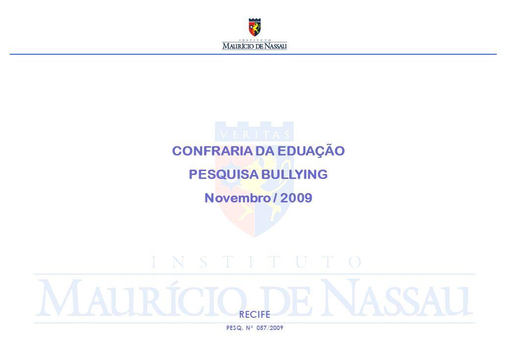CONFRARIA DA EDUAÇÃO PESQUISA BULLYING Novembro / 2009 RECIFE PESQ. Nº 057/2009