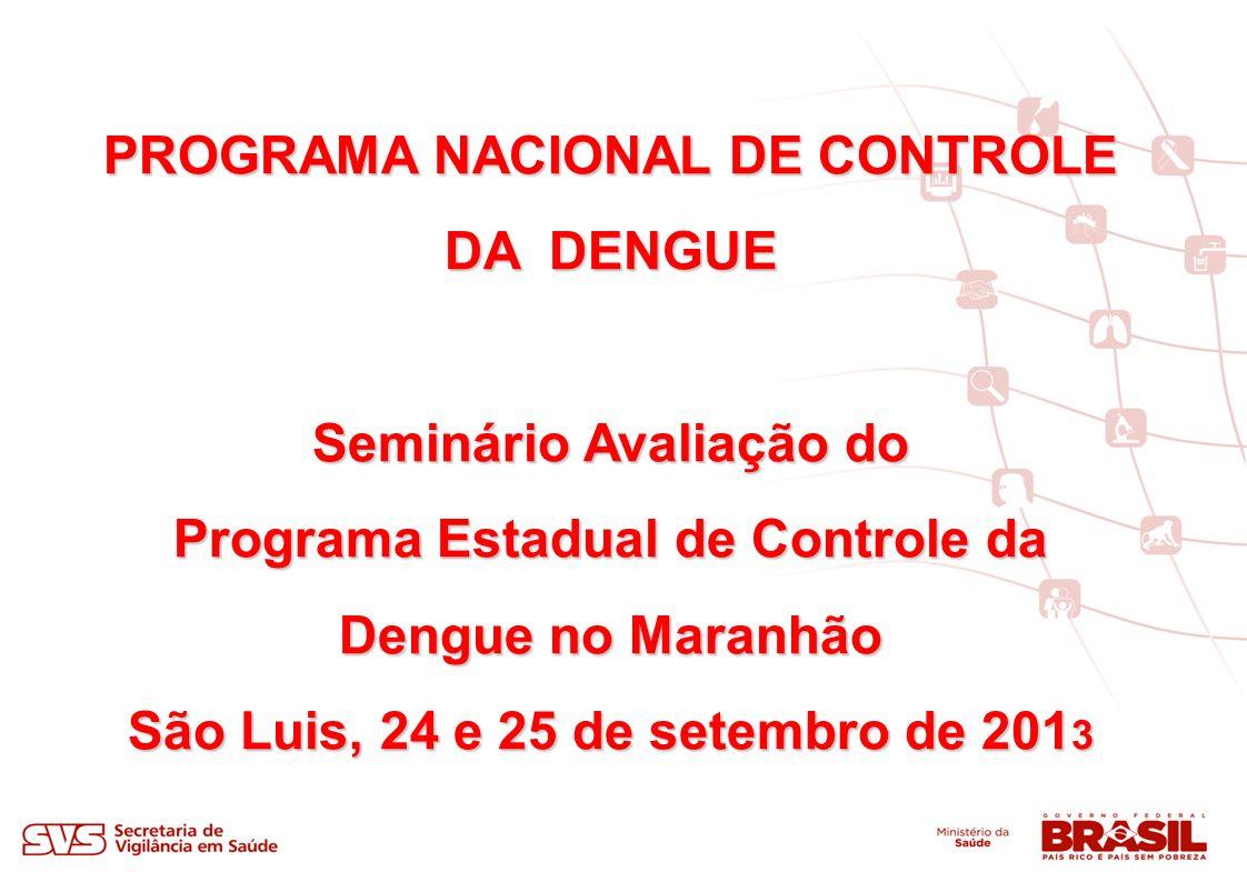 PROGRAMA NACIONAL DE CONTROLE DA DENGUE Seminário Avaliação do Programa Estadual de Controle da Dengue no Maranhão São Luis, 24 e 25 de setembro de 201 3