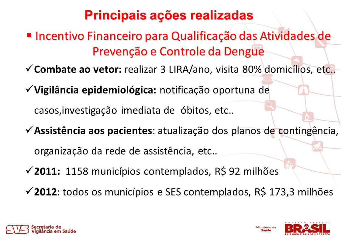 Principais ações realizadas Incentivo Financeiro para Qualificação das Atividades de Incentivo Financeiro para Qualificação das Atividades de Prevenção e Controle da Dengue Prevenção e Controle da Dengue Combate ao vetor: realizar 3 LIRA/ano, visita 80% domicílios, etc..