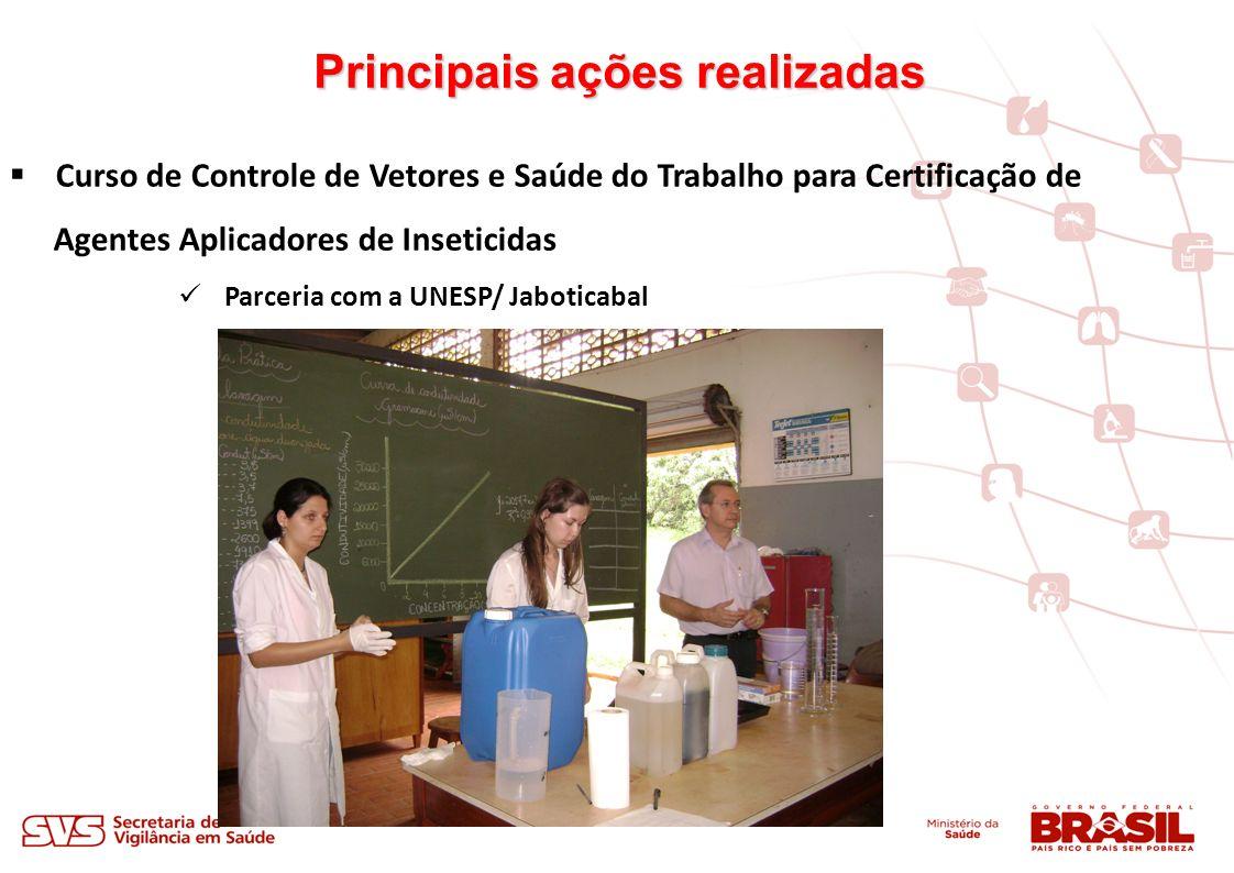 Principais ações realizadas Curso de Controle de Vetores e Saúde do Trabalho para Certificação de Agentes Aplicadores de Inseticidas Parceria com a UNESP/ Jaboticabal