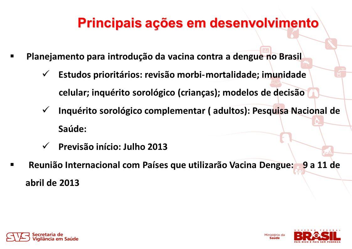 Principais ações em desenvolvimento Planejamento para introdução da vacina contra a dengue no Brasil Estudos prioritários: revisão morbi-mortalidade; imunidade celular; inquérito sorológico (crianças); modelos de decisão Inquérito sorológico complementar ( adultos): Pesquisa Nacional de Saúde: Previsão início: Julho 2013 Reunião Internacional com Países que utilizarão Vacina Dengue: 9 a 11 de abril de 2013