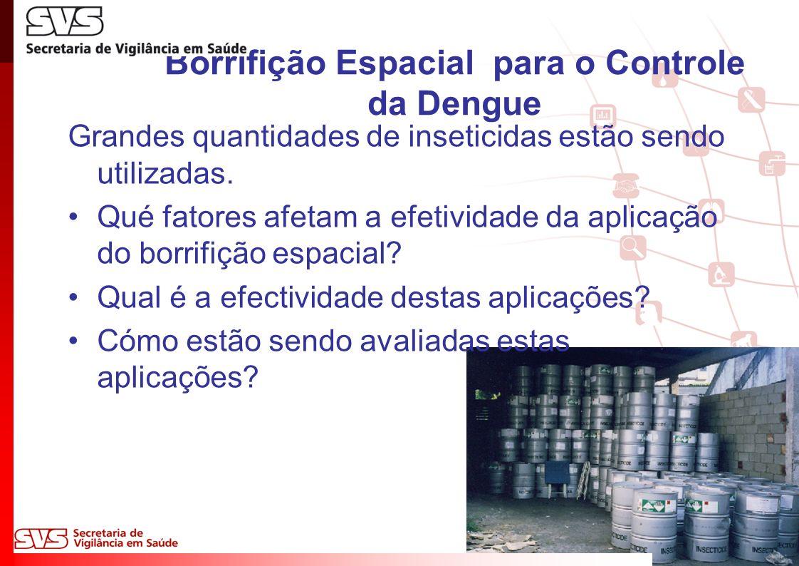 Borrifição Espacial para o Controle da Dengue Grandes quantidades de inseticidas estão sendo utilizadas.
