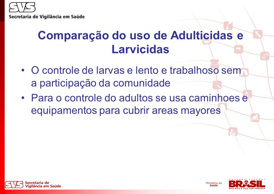 Comparação do uso de Adulticidas e Larvicidas O controle de larvas e lento e trabalhoso sem a participação da comunidade Para o controle do adultos se usa caminhoes e equipamentos para cubrir areas mayores