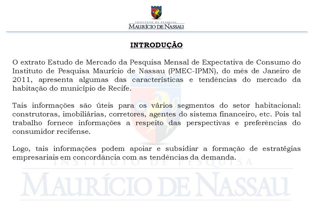 INTRODUÇÃO O extrato Estudo de Mercado da Pesquisa Mensal de Expectativa de Consumo do Instituto de Pesquisa Maurício de Nassau (PMEC-IPMN), do mês de Janeiro de 2011, apresenta algumas das características e tendências do mercado da habitação do município de Recife.