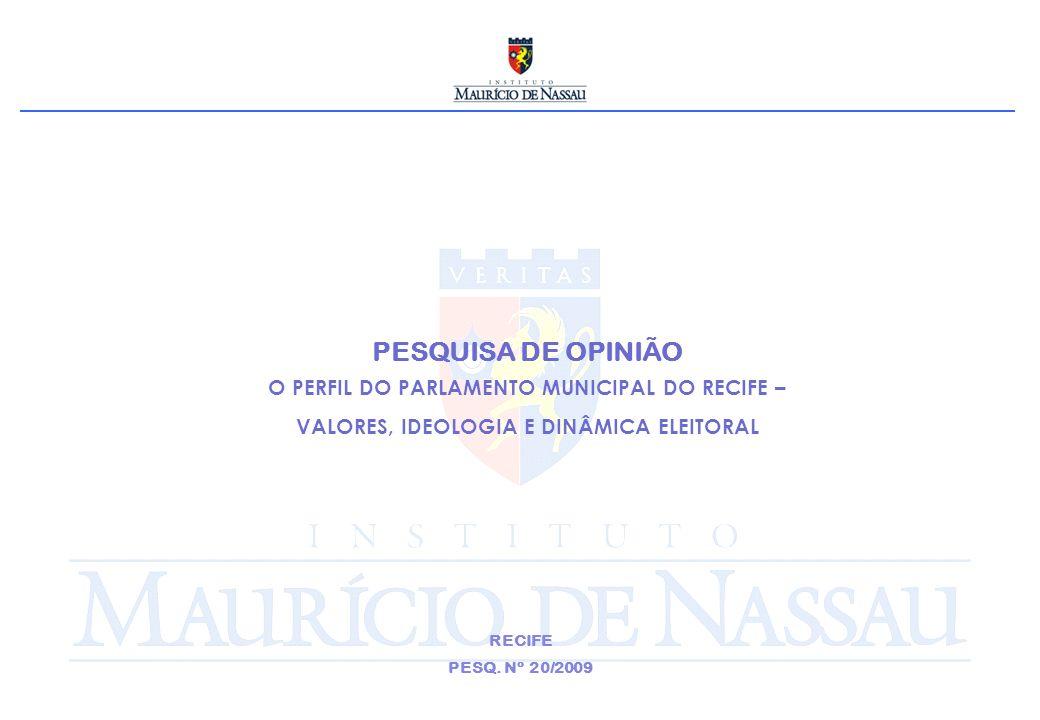 PESQUISA DE OPINIÃO O PERFIL DO PARLAMENTO MUNICIPAL DO RECIFE – VALORES, IDEOLOGIA E DINÂMICA ELEITORAL RECIFE PESQ.