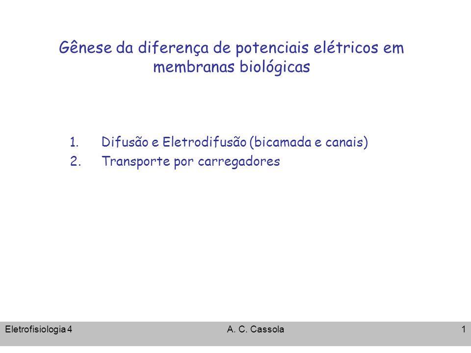 Eletrofisiologia 4A. C. Cassola1 Gênese da diferença de potenciais elétricos em membranas biológicas 1.Difusão e Eletrodifusão (bicamada e canais) 2.T