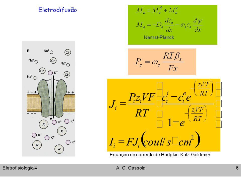 Eletrofisiologia 4A. C. Cassola6 Eletrodifusão Nernst-Planck Equaçao da corrente de Hodgkin-Katz-Goldman 2 / 1 cmscoulFJI e ecc RT VFzP J ii RT VFz RT