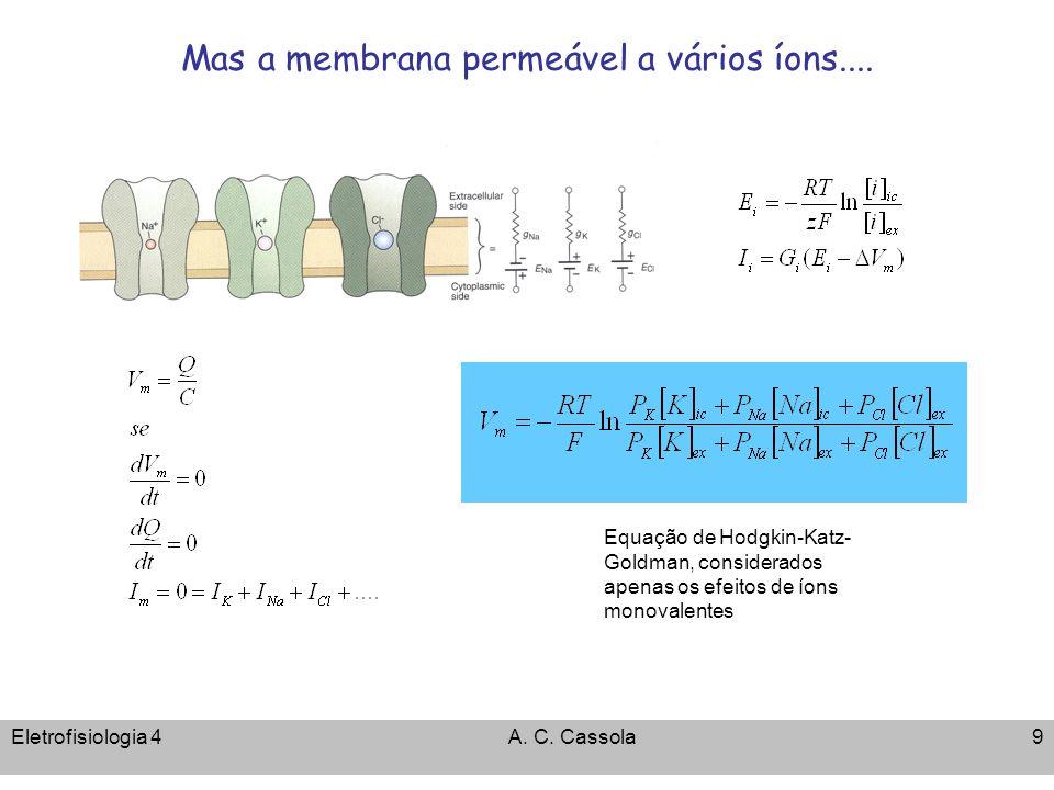 Eletrofisiologia 4A. C. Cassola9 Mas a membrana permeável a vários íons.... Equação de Hodgkin-Katz- Goldman, considerados apenas os efeitos de íons m