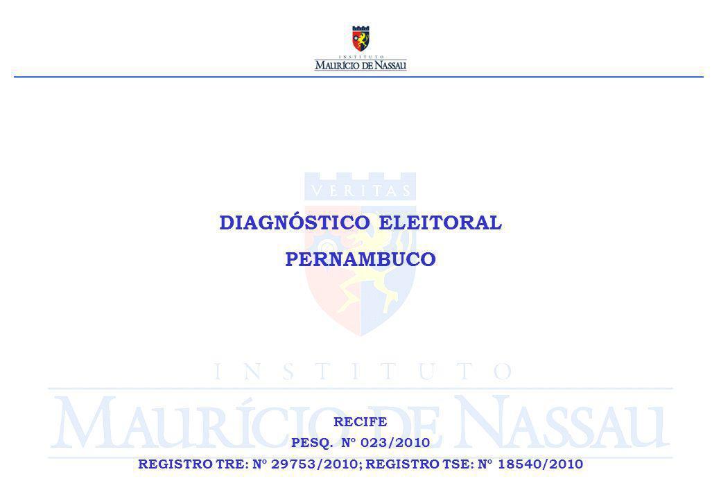 DIAGNÓSTICO ELEITORAL PERNAMBUCO RECIFE PESQ. Nº 023/2010 REGISTRO TRE: Nº 29753/2010; REGISTRO TSE: Nº 18540/2010