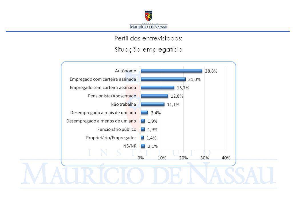 Perfil dos entrevistados: Situação empregatícia