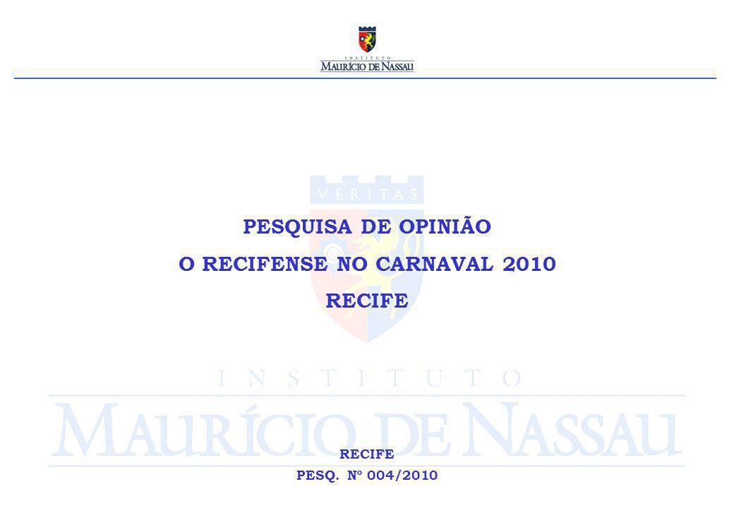 PESQUISA DE OPINIÃO O RECIFENSE NO CARNAVAL 2010 RECIFE PESQ. Nº 004/2010