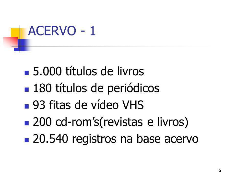 6 ACERVO - 1 5.000 títulos de livros 180 títulos de periódicos 93 fitas de vídeo VHS 200 cd-roms(revistas e livros) 20.540 registros na base acervo
