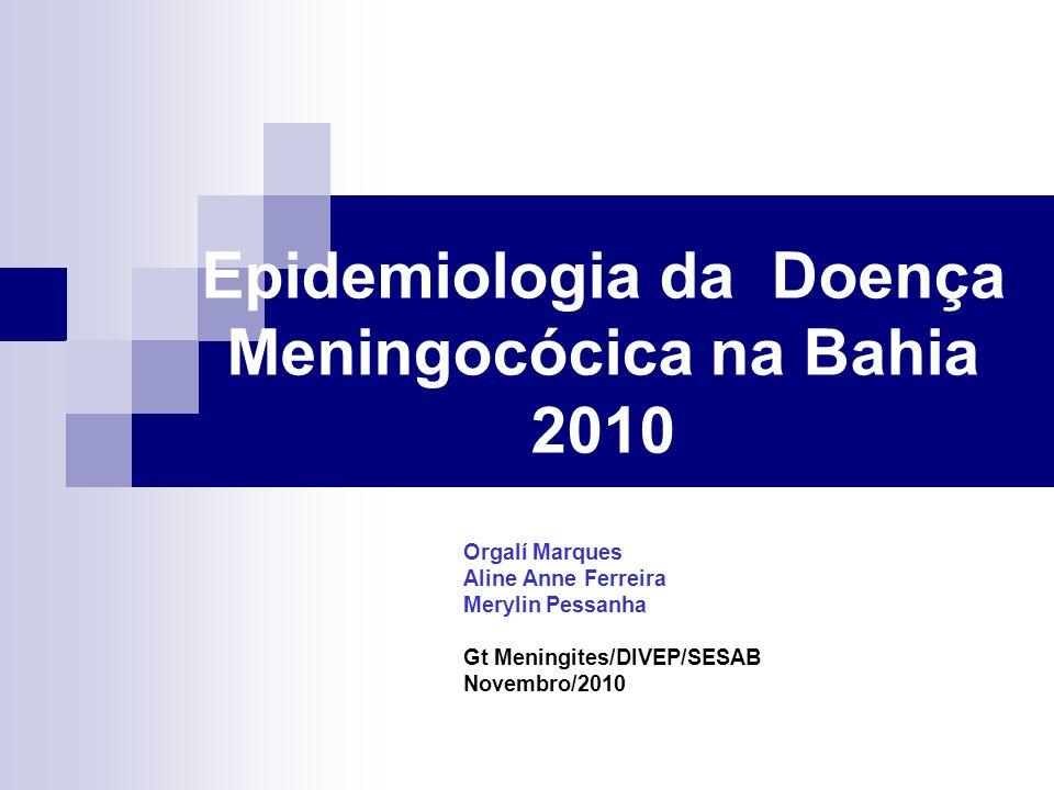 Casos Confirmados de Meningites, Bahia, 2010* Meningites 417 (37,1%) Bacterianas 577 ( 51,4%) Virais 105 ( 9,3%) Não Especificadas 22 ( 1,9%) Outras Etiologias 1121 casos Fonte: SINAN NET/Banco Paralelo/DIVEP/SESAB *Dados até SE 42 (23/10/2010)