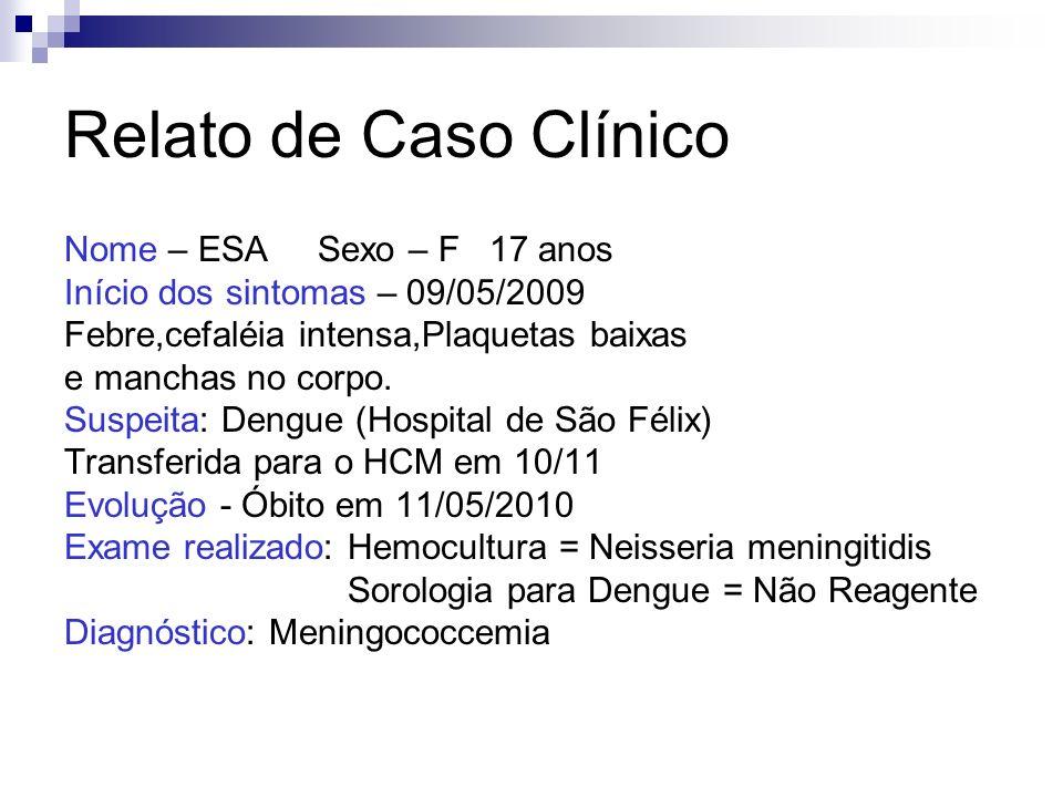 Relato de Caso Clínico Nome – ESA Sexo – F 17 anos Início dos sintomas – 09/05/2009 Febre,cefaléia intensa,Plaquetas baixas e manchas no corpo. Suspei