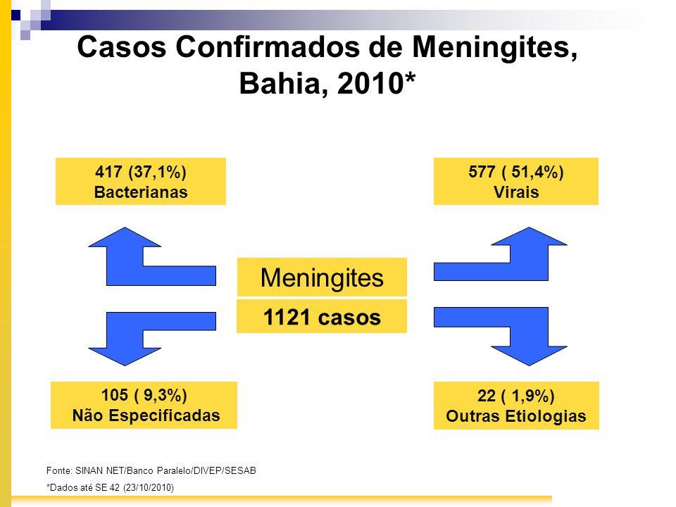 Casos Confirmados de Meningites, Bahia, 2010* Meningites 417 (37,1%) Bacterianas 577 ( 51,4%) Virais 105 ( 9,3%) Não Especificadas 22 ( 1,9%) Outras E