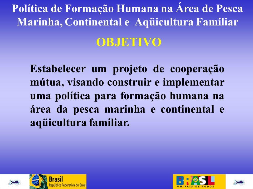 Política de Formação Humana na Área de Pesca Marinha, Continental e Aqüicultura Familiar OBJETIVO Estabelecer um projeto de cooperação mútua, visando