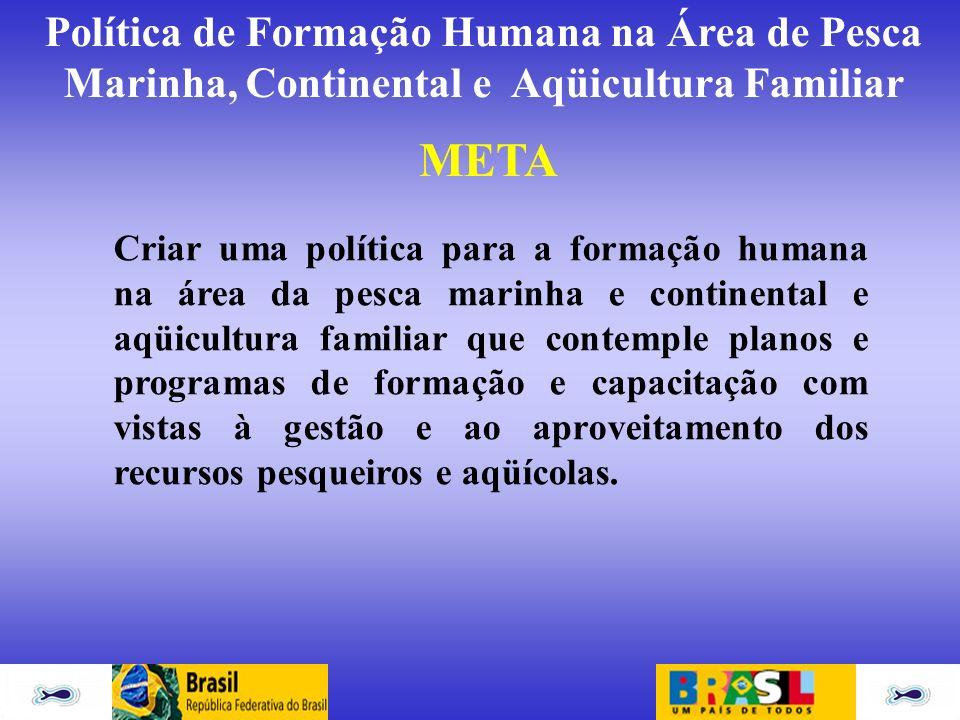 Política de Formação Humana na Área de Pesca Marinha, Continental e Aqüicultura Familiar META Criar uma política para a formação humana na área da pes