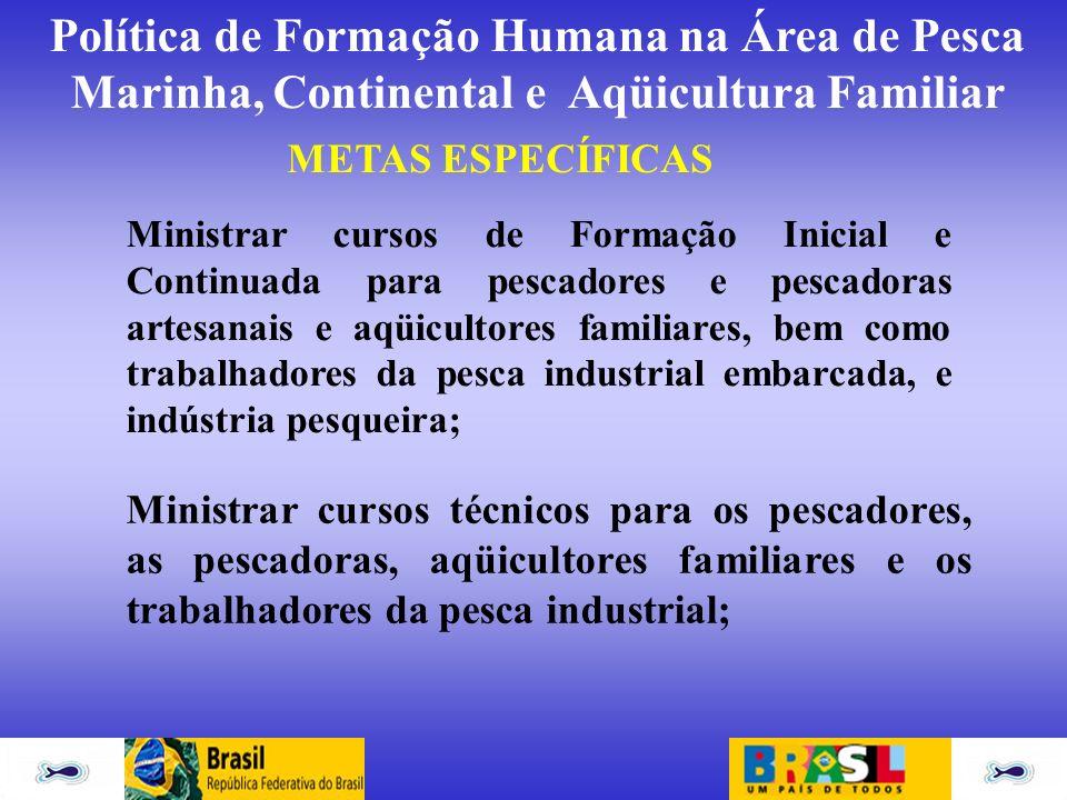 Política de Formação Humana na Área de Pesca Marinha, Continental e Aqüicultura Familiar METAS ESPECÍFICAS Ministrar cursos de Formação Inicial e Cont