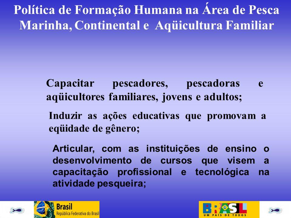 Política de Formação Humana na Área de Pesca Marinha, Continental e Aqüicultura Familiar Capacitar pescadores, pescadoras e aqüicultores familiares, j