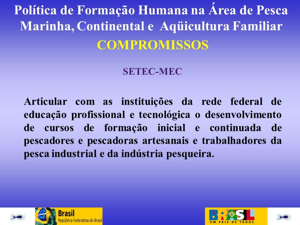 Política de Formação Humana na Área de Pesca Marinha, Continental e Aqüicultura Familiar COMPROMISSOS SETEC-MEC Articular com as instituições da rede