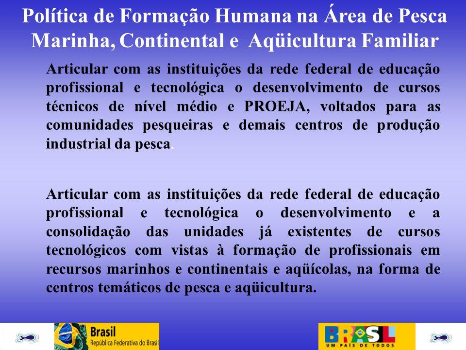 Política de Formação Humana na Área de Pesca Marinha, Continental e Aqüicultura Familiar Articular com as instituições da rede federal de educação pro