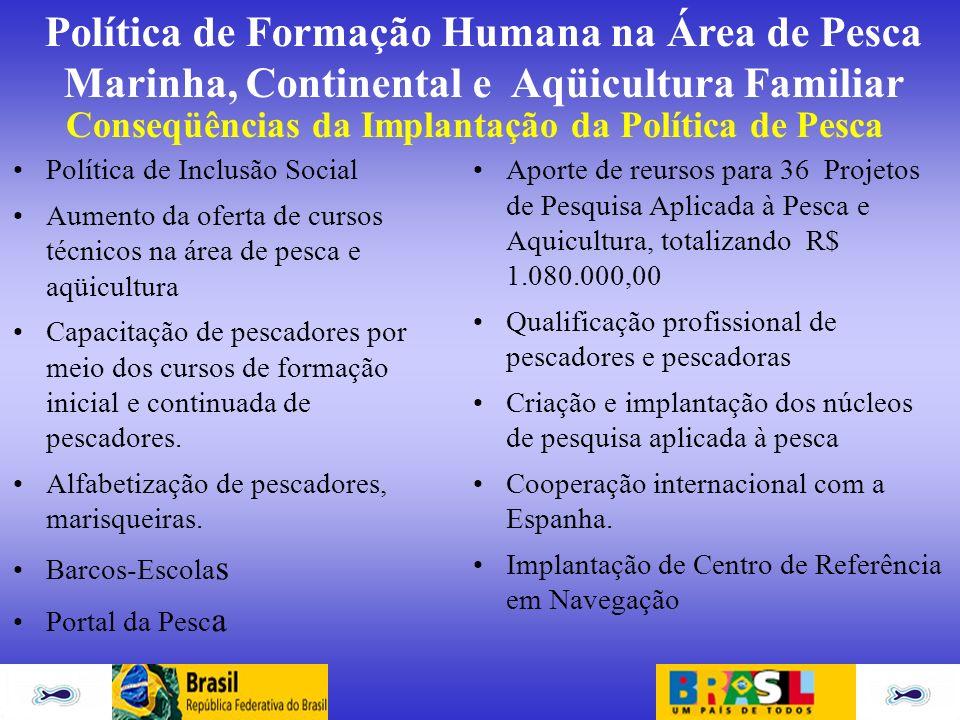 Política de Formação Humana na Área de Pesca Marinha, Continental e Aqüicultura Familiar Conseqüências da Implantação da Política de Pesca Política de