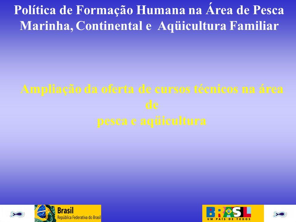 Política de Formação Humana na Área de Pesca Marinha, Continental e Aqüicultura Familiar Ampliação da oferta de cursos técnicos na área de pesca e aqü