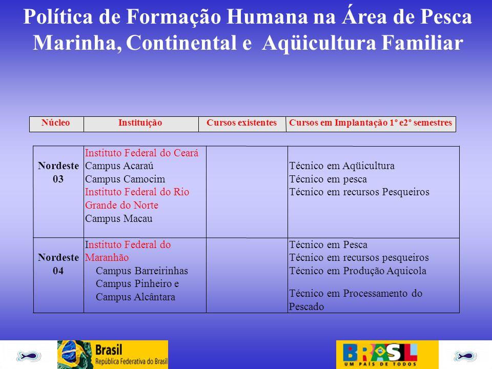 Política de Formação Humana na Área de Pesca Marinha, Continental e Aqüicultura Familiar Nordeste 03 Instituto Federal do Ceará Campus Acaraú Campus C