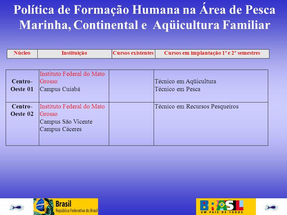 Política de Formação Humana na Área de Pesca Marinha, Continental e Aqüicultura Familiar Centro- Oeste 01 Instituto Federal do Mato Grosso Campus Cuia