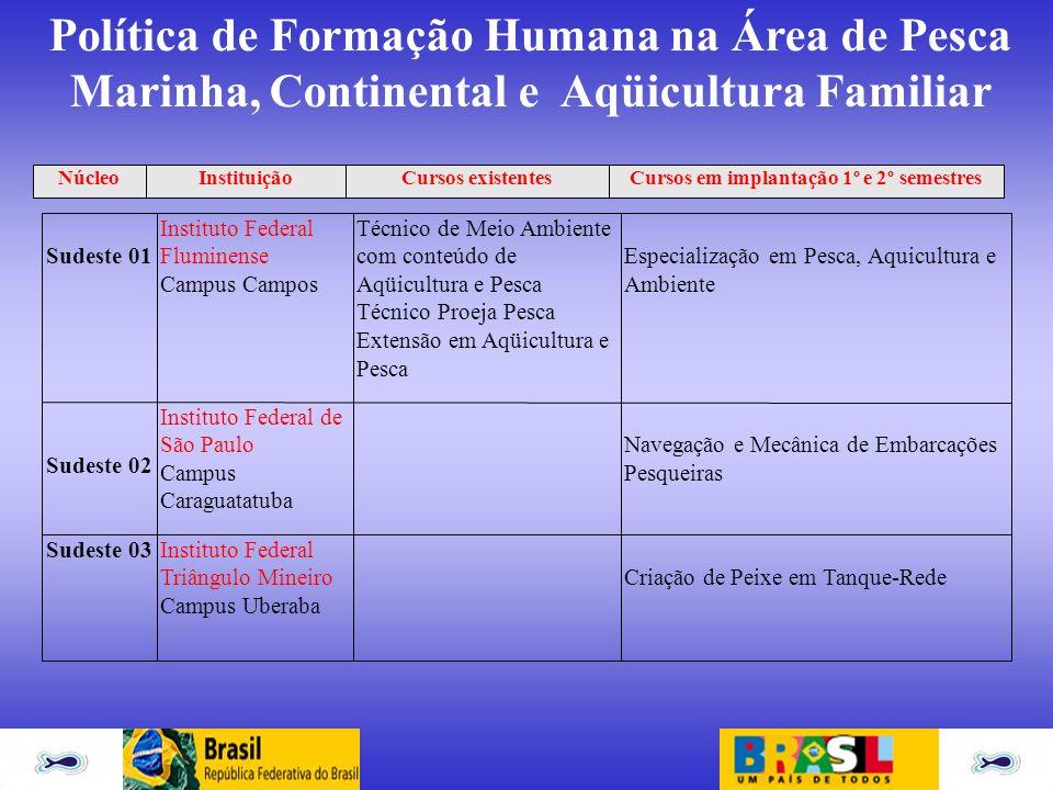 Política de Formação Humana na Área de Pesca Marinha, Continental e Aqüicultura Familiar Sudeste 01 Instituto Federal Fluminense Campus Campos Técnico
