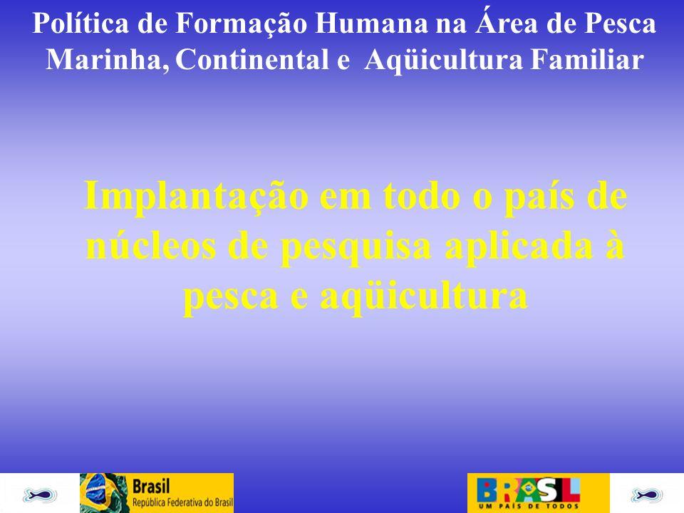 Política de Formação Humana na Área de Pesca Marinha, Continental e Aqüicultura Familiar Implantação em todo o país de núcleos de pesquisa aplicada à