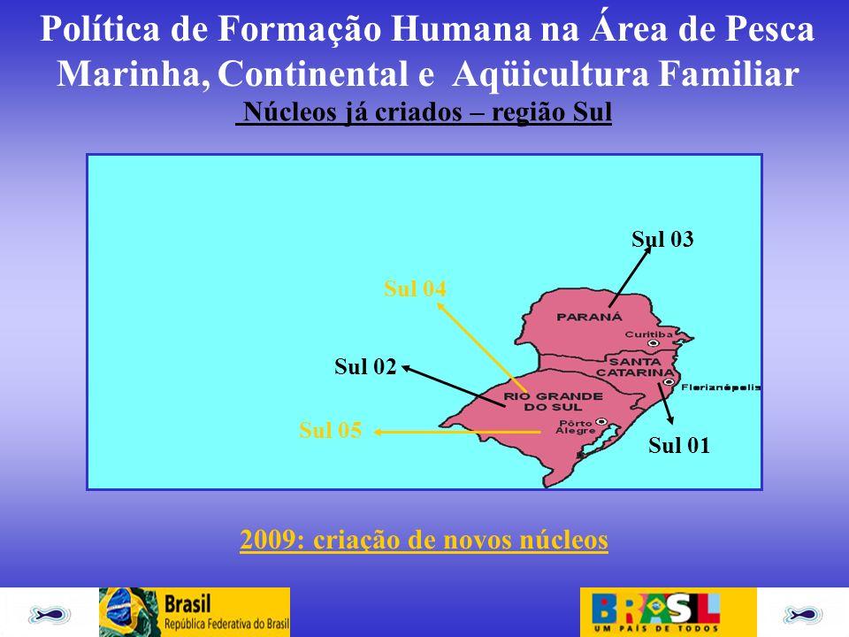 Política de Formação Humana na Área de Pesca Marinha, Continental e Aqüicultura Familiar Núcleos já criados – região Sul Sul 01 Sul 02 Sul 03 Sul 04 S