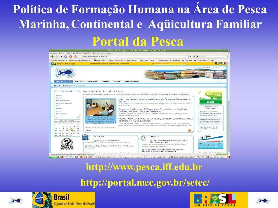 Política de Formação Humana na Área de Pesca Marinha, Continental e Aqüicultura Familiar Portal da Pesca http://www.pesca.iff.edu.br http://portal.mec