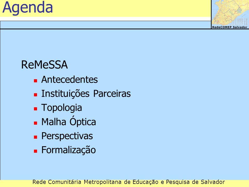 Rede Comunitária Metropolitana de Educação e Pesquisa de Salvador Agenda ReMeSSA Antecedentes Instituições Parceiras Topologia Malha Óptica Perspectiv