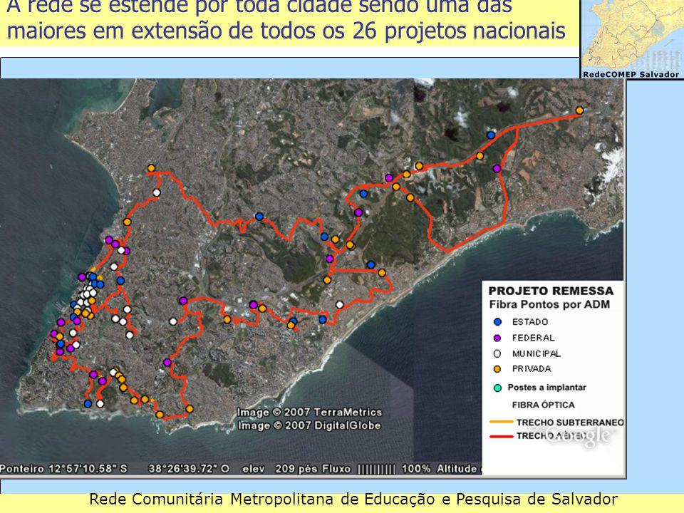 Rede Comunitária Metropolitana de Educação e Pesquisa de Salvador A rede se estende por toda cidade sendo uma das maiores em extensão de todos os 26 p