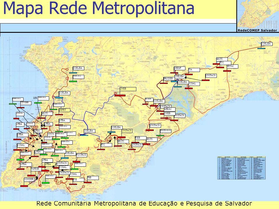 Rede Comunitária Metropolitana de Educação e Pesquisa de Salvador Mapa Rede Metropolitana UNEBUNIFACSSECTIUFBAFAPESBFJAFTE PRODASAL COELBAUNIFACS SECT