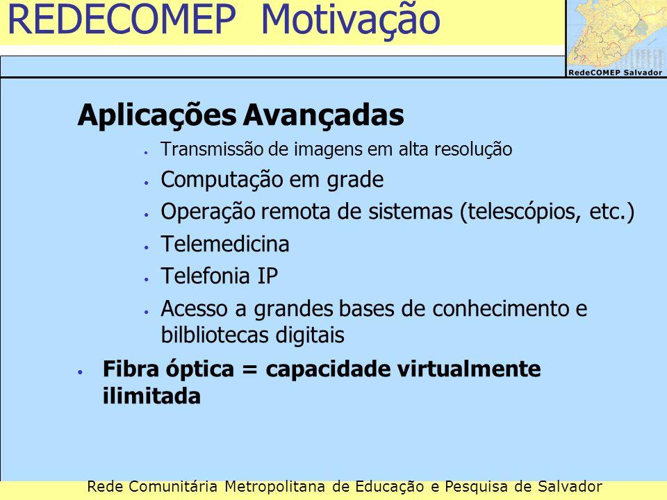 Rede Comunitária Metropolitana de Educação e Pesquisa de Salvador Remessa em números: extensão 130 Km de rede aérea (3.341 postes) 7 Km de dutos subterrâneos
