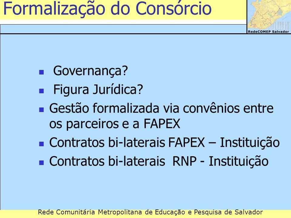 Rede Comunitária Metropolitana de Educação e Pesquisa de Salvador Governança? Figura Jurídica? Gestão formalizada via convênios entre os parceiros e a