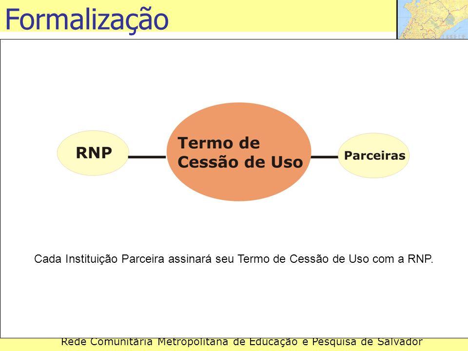 Rede Comunitária Metropolitana de Educação e Pesquisa de Salvador Cada Instituição Parceira assinará seu Termo de Cessão de Uso com a RNP. Formalizaçã