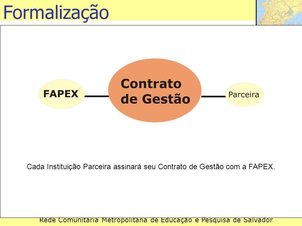 Rede Comunitária Metropolitana de Educação e Pesquisa de Salvador Cada Instituição Parceira assinará seu Contrato de Gestão com a FAPEX. Formalização