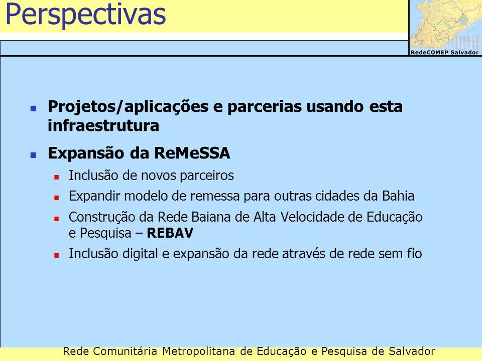 Rede Comunitária Metropolitana de Educação e Pesquisa de Salvador Perspectivas Projetos/aplicações e parcerias usando esta infraestrutura Expansão da