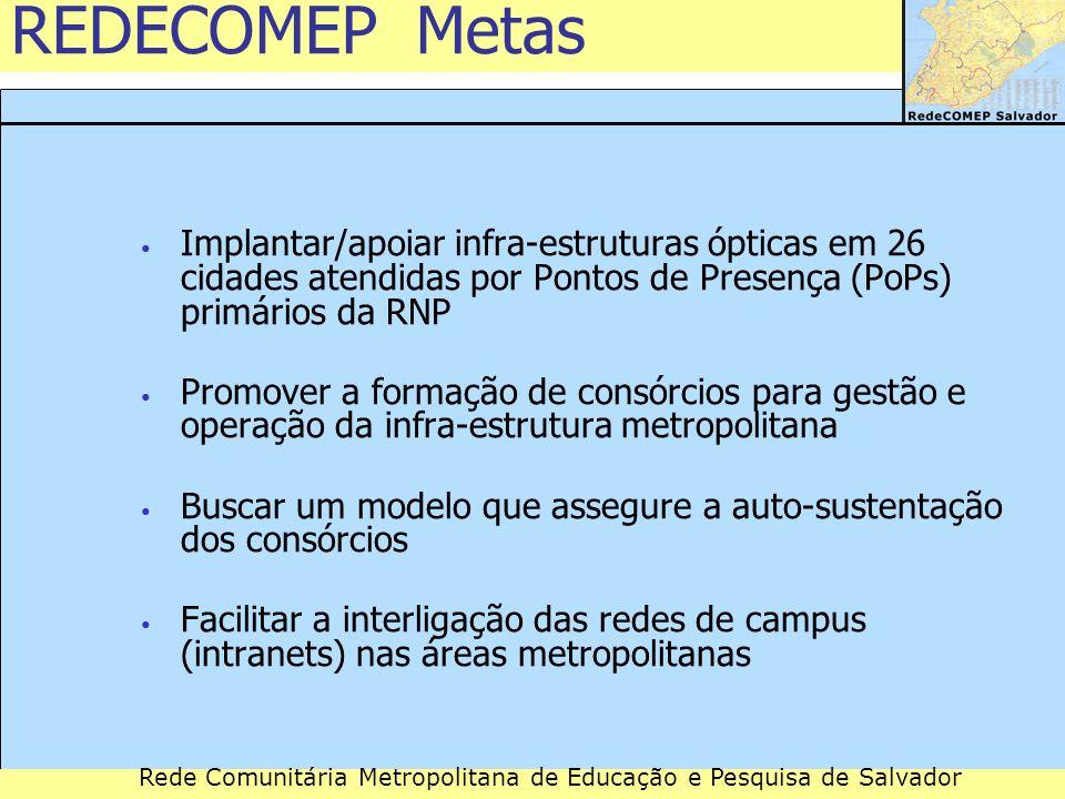 Rede Comunitária Metropolitana de Educação e Pesquisa de Salvador REDECOMEP Metas Implantar/apoiar infra-estruturas ópticas em 26 cidades atendidas po